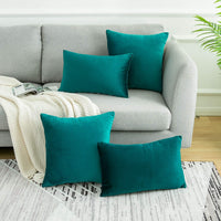 WLNUI Soft Velvet Teal Blue Throw Pillow Covers Set of 2 Decorative Pillow Case Square Cushion Cover for Sofa Couch Home Farmhouse Decor 18x18 Inch 45x45 cm