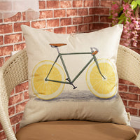 "Fjfz Vintage Lemon Bicycle Decorative Throw Pillow Cover Summer Sign Farmhouse Style Decoration Rustic Home Decor Cotton Linen Cushion Case for Sofa Couch, 18"" x 18"""