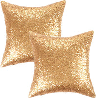Kevin Textile New Year Decorative Solid Sequins Throw Pillow Cover Sham 45 x 45 cm Decor Pillow Case, Hidden Zipper Design, (Two Cover Packs, Gold)