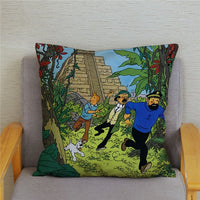 Comic Adventures Tintin Print Pillow Cover Super Soft Plush Cushion Cover 45*45 Throw Pillowcase Sofa Home Decor Cushion Covers