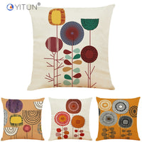 YITUN Painted Cushion Covers 45*45 Floral Painting Throw Pillow Cover Woven Square Cushion Sham Decor Home Sofa Bed Car