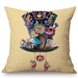 Alice in Wonderland Cushion Cover Cute Rabbit Cat Printed Sofa Throw Pillow Vintage Home Decorative Pillow Case