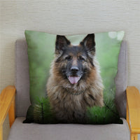 German Shepherd Dog Pillow Case Home Decor Animal Pillows Cover for Sofa Car Cushion Cover Super Soft Short Plush 45*45cm