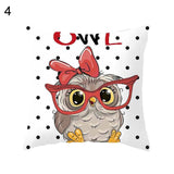 45*45cm Cartoon Cushion Cover Owl Family Print Pillow Case Bird Polyester  Throw Pillow Cover Decoration For Home Office