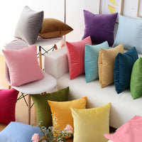 Modern Fashion Color Candy Velvet Cushion Cover Blue Gray Yellow Pink Pillow Cover Pillowcase Home Decorative Sofa Throw Pillows