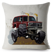 USA Cartoon Monster Truck Car SUV Pattern Cushion Cover Linen Pillow Covers 45*45cm Pillows Case Home Decor Pillowcase