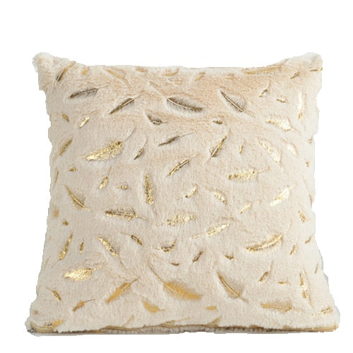 Decorative Fur Cushion Cover Gold Feather Home Plush Pillow Case Throw Pillow Cover Seat Sofa Bed Decoration Pillowcases 45 x 45