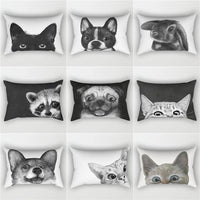 Elife Cartoon Animal Polyester decorative  rectangular pillow shams pillow case throw waist Cushion Cover For Sofa car 30x50cm