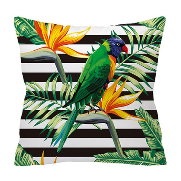 ZENGIA Sofa Decorative Cushion Cover Tropical Plant Leaf Parrot pineapple Pillow cover 45*45 Throw Pillows Home Decor Pillowcase