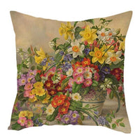 Fuwatacchi Pure Linen Cushion Cover Rose Flower Pillow Cover for Home Chair Sofa Decorative Pillows Oil Painting Flowers Pillows