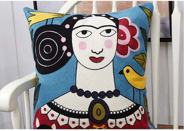 ZENGIA Cotton Embroidery Pillow Cover Picasso Cushion Cover Home Decor Cushion Decorative PillowCase Pillow Sham 45x45cm