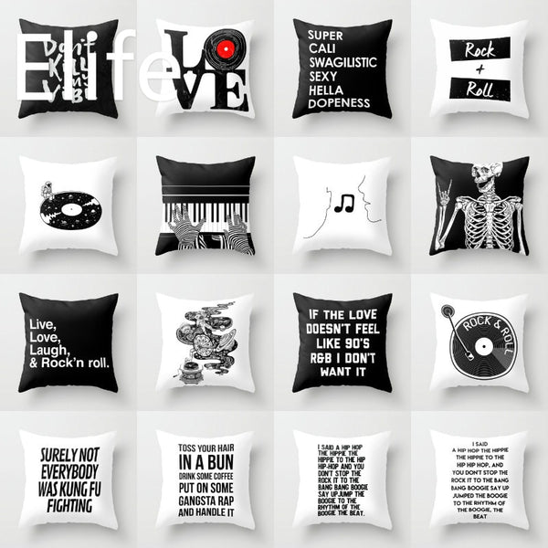 18'' Elife Polyester Music Rock Roll Cushion Cover decorative Pillows Case Cover For Sofa Car funda cojin Home Decor 45*45CM