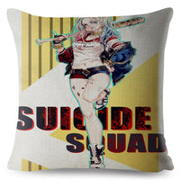 Suicide Squad Clown Harley Quinn Cushion Cover Beige Linen Pillowcase 45*45cm Throw Pillows Covers Home Decor Square Pillow Case