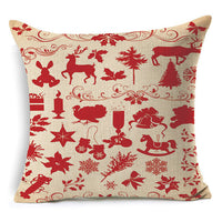 1Pcs 43*43cm Christmas Deer Gifts Pattern Cotton Linen Throw Pillow Cushion Cover Car Home Sofa Decorative Pillowcase 40484