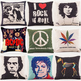 Super Star Peace Love& Music 1969 Cushion Cover Rock & Roll Home Decor Pillow Case Cojines Decorativos Para Sofa Pillow Cover
