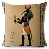 Egypt Ancient Totem Pharaoh Print Cushion Cover Beige Linen Pillowcase 45*45cm Throw Pillows Covers Sofa Home Decor Pillow Case