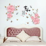 Rose Vine Wall Sticker Decal Living Room Bed Room Decoration Ornament Gift