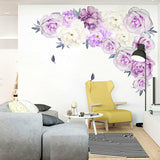 Fresh Peony Flower Wall Sticker Living Room Mural Decal Home Art DIY Decoration