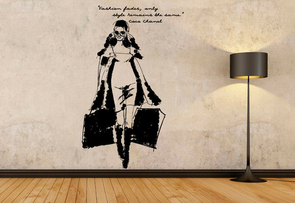 Vinyl Sticker Fashion Fades Style Shoping Coco Quote Decal Wall Art Decor hi387