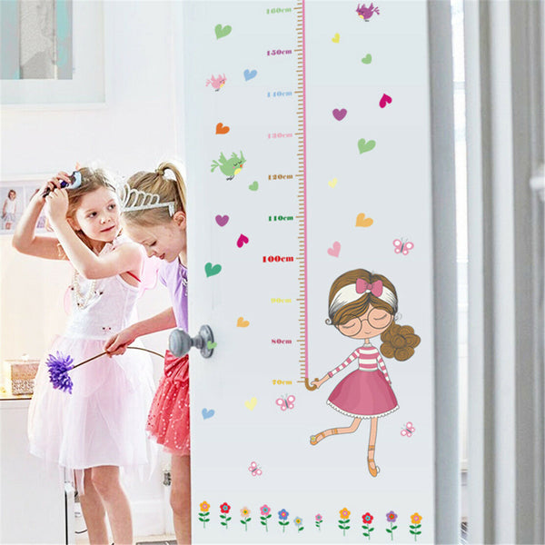 Cartoon Girl Height Room Home Decor Removable Wall Stickers Decals Decoration