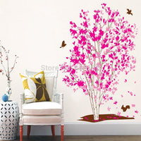 One Tree Dream Pink Flowers Birds Wall Stickers Living Room Home Decor New