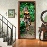 3D peacock tiger Self-adhesive Living Room Door Stickers Murals Photos decor