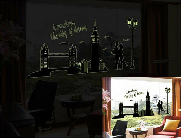 London City Glow Night Home Room Decor Removable Wall Stickers Decal Decoration