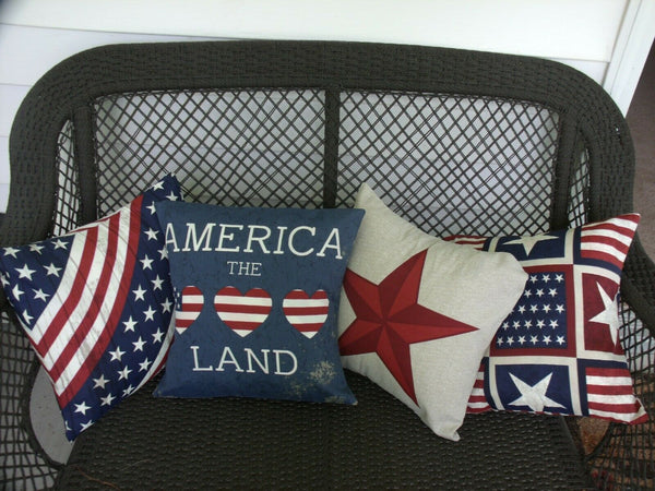 (4) 16x16 PATRIOTIC DESIGNED INDOOD/OUTDOOR PILLOW COVERS