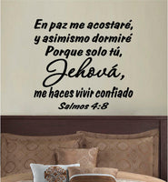 Wall Decal. Inspirational Wall Decal. Christian Home Decor. Biblia. Salmos 4:8.