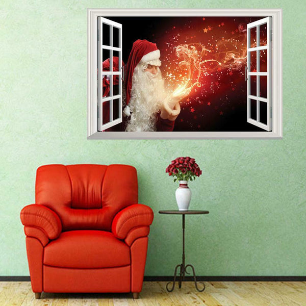 Christmas Wall Sticker 3D Fake Window Santa Claus Decal for Living Room Decor