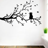 The Cat on the branch Vinyl Wall Stickers For Kids Room Home Decor Living Room