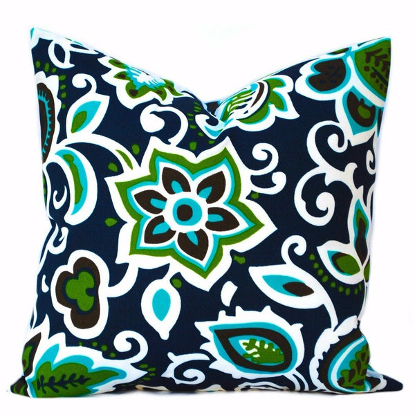 1 outdoor pillow covers, Floral cushion, decorative throw pillow, Navy pillow