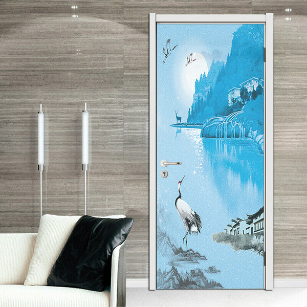 3D Chinese Style Self-adhesive Living Room Door Murals Wall Sticker Home Decor