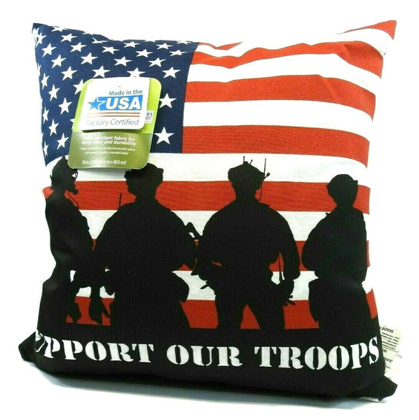 "(2) Throw Toss Pillow 16"" x 16"" American Flag Indoor Outdoor Military Troops"
