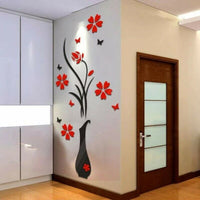 Acrylic 3D Vase Flower Tree Crystal Wall Stickers Decal Home Living Room Decor
