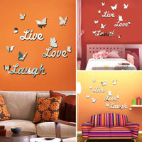 Home Decor Wall Sticker Living Room Mirror Surface Removable English Letters 3D