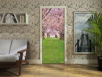 3D Pink Cherry Flowers Self-Adhesive Living Room Door Mural Wall Stickers Decor