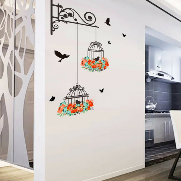 Flower Bird Cage Removable Wall Sticker Living Room Decor Mural Art Home Dec_wu
