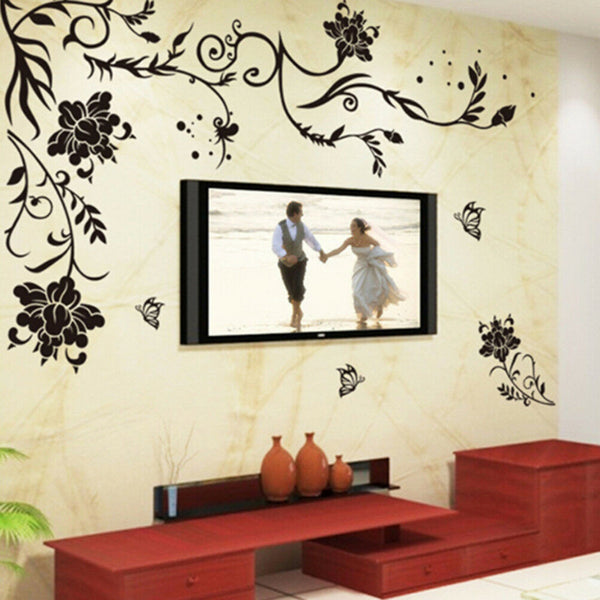 Black Flower Decoration Wall Sticker Home Decor Living Room Wall Decors R JG