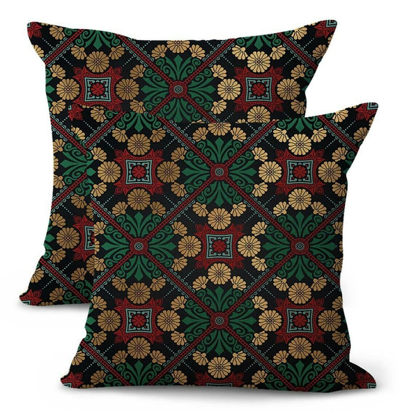 -set of 2 retro vingage floral medallion cushion outdoor pillow covers