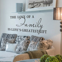 Inspiration Wall Sticker The Love of Family Quote Vinyl Removable Art Home Decor