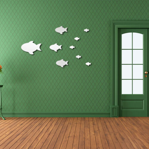 Home 9Pcs Cute Fish Mirror Lovely Wall Sticker Romantic Living Room Wall Decor