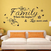 Family Where Life Begins Love Living Room Wall Quotes Stickers Decor Decal W