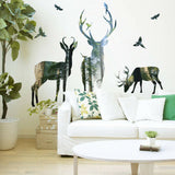 PW_ KQ_ Deer Forest Wall Sticker Mural Decal DIY Removable PVC Art Home Decor