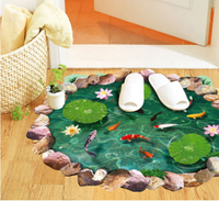 Lotus Pond Fish Floor Sticker 3D Lotus Bathroom Living Room Floor Decor 60x90cm