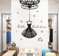 Black Dress Shining Star Wall Stickers For Girl Room Living Room Decor Decals