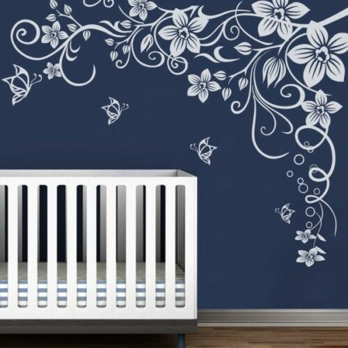 Flowers Butterflies Wall Decal Vinyl Removable Living Nursery Room Mural Decor