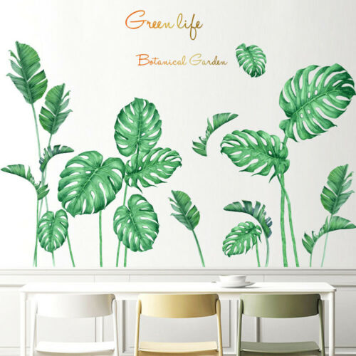HD_ Green Tropical Plant Leaf Home Wall Sticker Living Room Decal DIY Decor Myst
