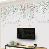 BE_ AU_ Beautiful Flower Vine Leaf Removable Wall Sticker Home Living Room Decor