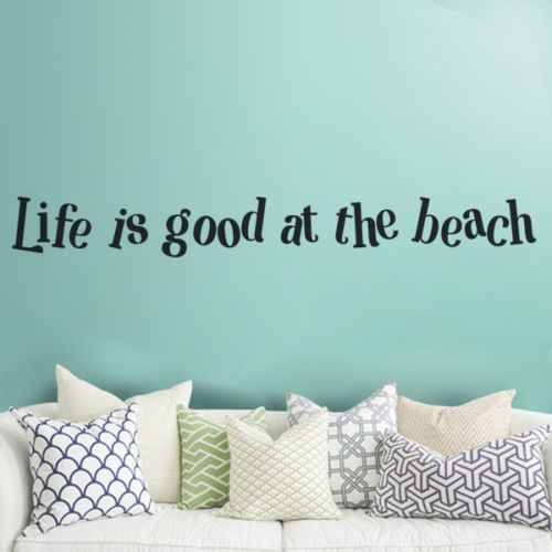 Life is Good at the Beach Inspired Wall Decal Vinyl Quote Living Room Decor Idea
